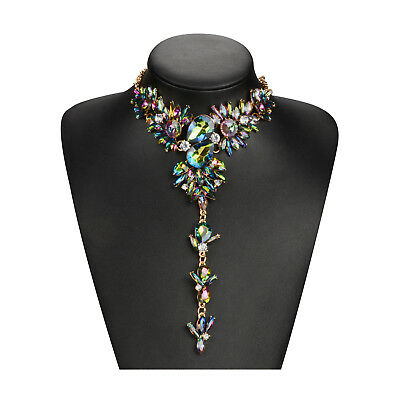 Women Statement Necklace Chunky Choker Collar Colorful Crystal Pendant Jewelry