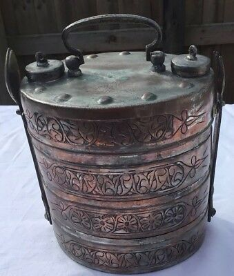 ANTIQUE c1900 COPPER INDIAN TIFFIN, THREE STACK WITH SPOON & FORK