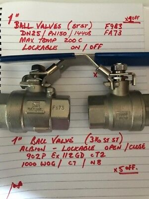 STAINLESS STEEL 316 BALL VALVE -  Albion type x5 pluDN25 / PN150 lockable