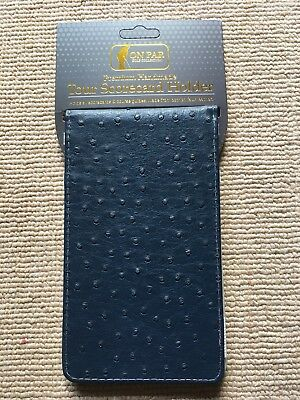 On Par Navy & Grey Ostrich Faux Leather Premium Tour Scorecard Holder