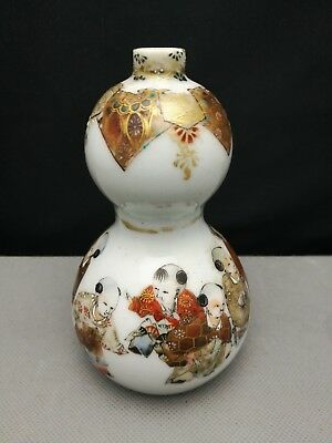 late 19th ELEGANT ANTIQUE JAPANESE hand-painted double gourd vase - marked
