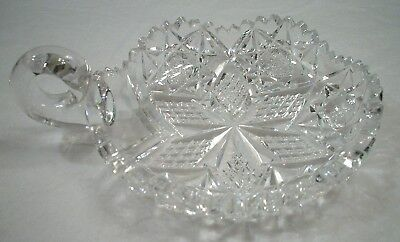 Hawkes American Brilliant Period Crystal Cut Glass Handled Nappy Dish