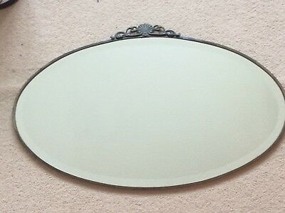 Very Old Vintage Antique Retro Oval Chain Hung Mirror