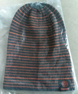 Jagermeister Knit Slouch Cap--Dark Grey and Orange Stripes