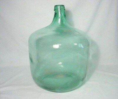 "Light Green Glass Demijohn Wine Bottle 16.5"" Tall 40"" Around"