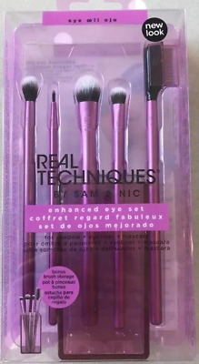 REAL TECHNIQUES 'Enhanced Eye' Makeup Brush Set Shadow Crease Shading Liner NEW