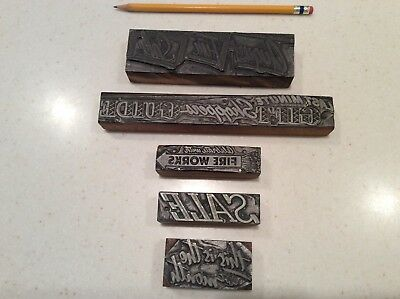 Antique Printing Blocks - Lot of 5 Advertising and Newspaper Stamps