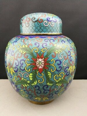 19th antique  Old Chinese Cloisonne Jar / tea Candy