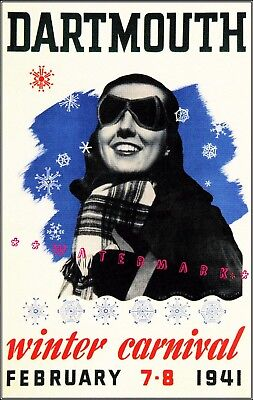 Dartmouth New Hampshire Winter Carnival 1941 Vintage Poster Print Winter Sports