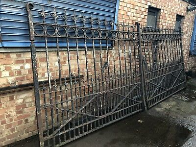 pair of Victorian  wrought iron gates each 5 foot wide and 3 foot height