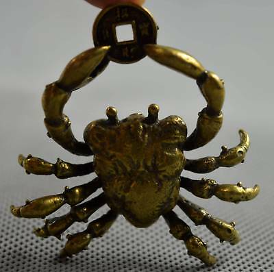 Collectable Ancient Copper Carve Royal Crab Amulet Wealthy Figurines Art Statue
