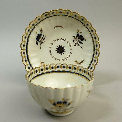 Antique Worcester Porcelain Fluted Tea Bowl & Saucer C.1790