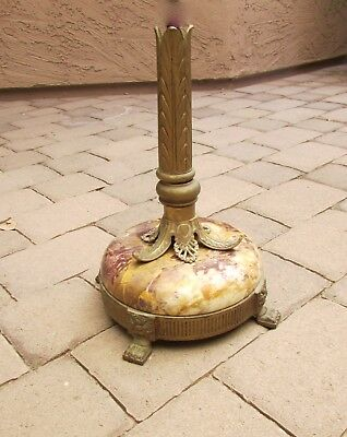 Old Vtg Antique Cast Iron Floor Lamp Torchiere Footed Base Marble & Parts