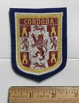 Spain Cordoba Cordova Espana Rampant Lion Crest Coat Arms Blue Felt Patch Badge