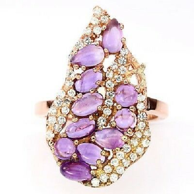 Natural Purple Amethyst 925 Sterling Silver 14k Gold Ring Size 7 Thejaipurshop Fine Jewelry