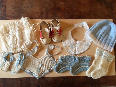Vintage Baby Clothes Lot -Shoes, Bibs, Booties, Bonnet - Sweet!
