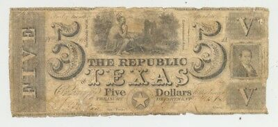 1839 $5 bill issued by the Republic of Texas and signed by Mirabeau Lamar