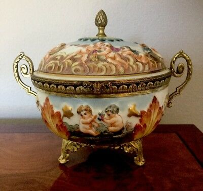 Antique French Ormolu Capodimonte Hand Painted  Cherub Bowl SIGNED N WITH CROWN