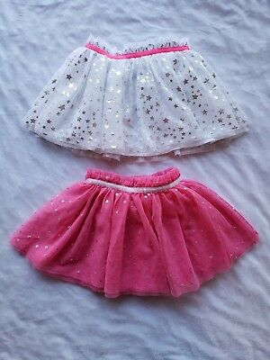 Healthex Girls Tutu Skirts Lot 3T Pink White Gold Sparkle Stars Hearts Holiday