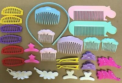 Vintage Barrettes Lot Girls Hair Clips TRUE 1980's plastic Combs Hippo Floral