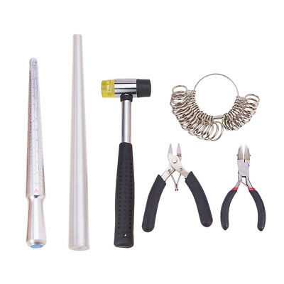 Ring Sizer Gauge Stretcher Enlarger Ring Sizing Tool Rubber Hammer Plier Set