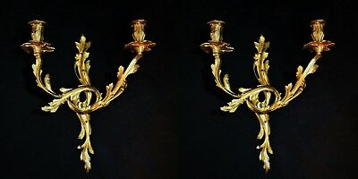 """Pair 17"""" French Louis XV Style Gold Bronze Wall Sconces Italian Acanthus Leaves"""