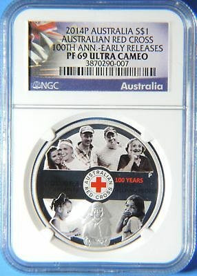 2014 Australia Power of Humanity Red Cross Colorized $1 1oz Silver Coin NGC PF69