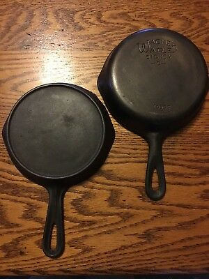 Lot Of Two Cast Iron # 3 Skillets, Pans One Wagner -0- 1053P And One No Name
