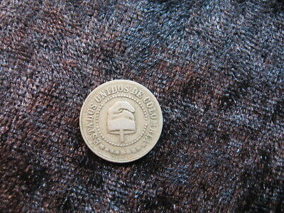 "1 tiny old world foreign coin COLOMBIA 2 1/2 centavos 1886 KM182 ""cap"""