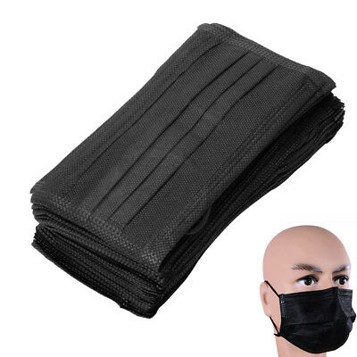 100/200X PM2.5 Disposable Medical Dust Mouth Surgical Face Mask Respirator Black