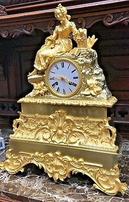 Gorgeous French Empire Figural Gilt Bronze Antique Silk Mantel Clock Freres 1855
