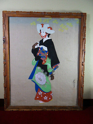 Japanese Silk hanging scroll Painting Traditional Lady in Kimono With Instrument