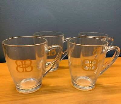 Set Of 4 New Baileys Original Irish Cream Clear Glass Coffee Mug Cups New Promo