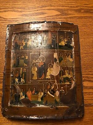 Antique 19thC Russian,  Icon Painting 12 Miniature Biblical Scenes