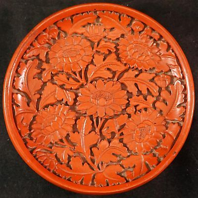 Lovely Old Cinnabar Lacquer Ware Plate or Pin Dish Deeply Carved Flowers