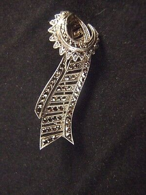 Art Deco Sterling Silver Marcasite  Pin Brooch C.1930'S