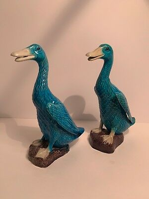 Vintage Chinese Turquoise Glazed Ducks Open Beak Great Quality See Pictures