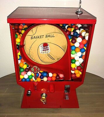 Early Vintage 1 Cent Coast Basketball Pinball Gumball Vending Machine Game