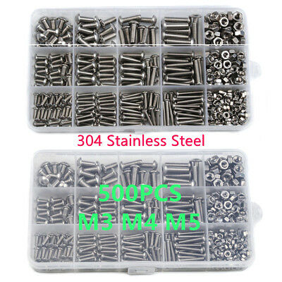 500x 304 Stainless Steel Hex Socket Round Head Bolts Assortment Screw Nuts Kit