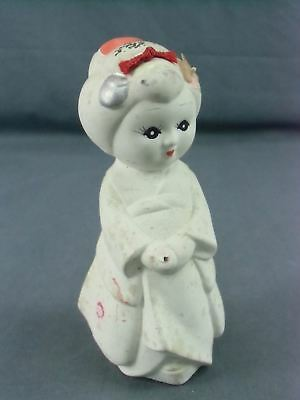 Japanese Clay Doll Kimono Girl Vtg Ningyo Hand Painted White Yakimono CD62