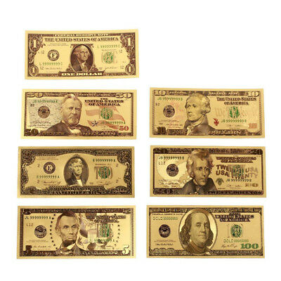 7Pcs/Set Gold Foil US Dollar Banknote Money Fake Currency Bill Collections