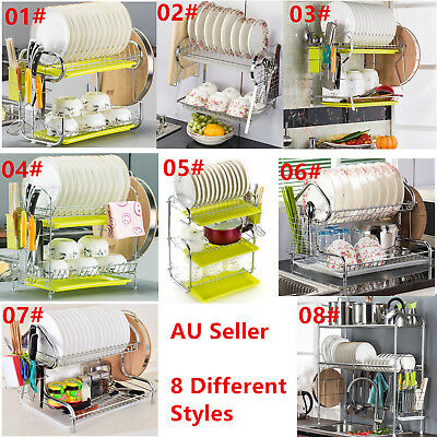 Stainless Steel Dish Rack Dishrack Drainer 2 Tier With Tray