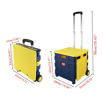 Yellow Portable Folding Collapsible Shopping Market Cart Storage Case & Lid 20KG