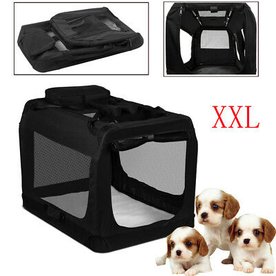 Dog Crate Soft Sided Pet Carrier Foldable Training Portable Cage House Black XXL