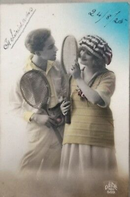 Rare original old French real photo postcard Art Deco tenis study 10