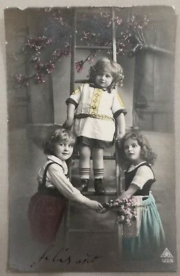 Rare original old French real photo postcard Art Deco niños study 11