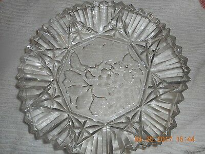 10 inch clear Scalloped Edge Bowl with Fruit embossed on Bottom