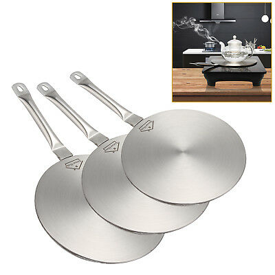 """Silver Induction Cooktop Converter 8"""" / 9"""" Disk Stainless Steel Plate Cookware"""