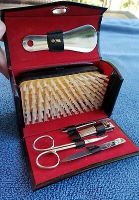 Vintage Hickok Travel Kit West Germany Leather Case Bristle Brush Grooming Kit