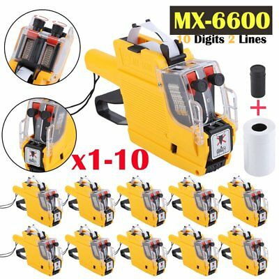 pro MX-6600 EOS 10 Digits 2 lines Price Tag Gun with sticker labels + Ink LOT MA